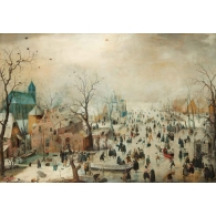 Posters Skleněný Obraz Winter Landscape With Skaters, Hendrick Avercamp