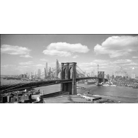 Posters Reprodukce Gendreau - Brooklyn Bridge & City Skyline 1938 , (100 x 50 cm)