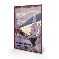Posters Dřevěný obraz Winter Sports In The Vosges, (40 x 59 cm)